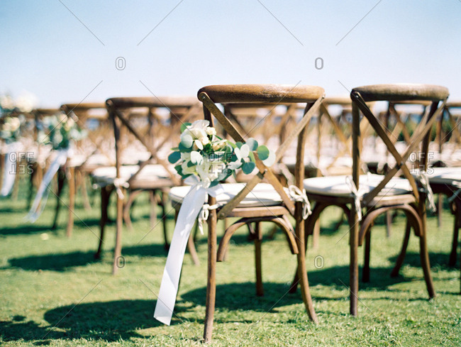 Flower decorations on wedding chair
