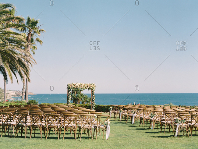 Wedding ceremony set up on coast