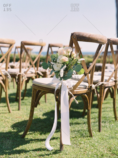 Floral decorations on wedding chair