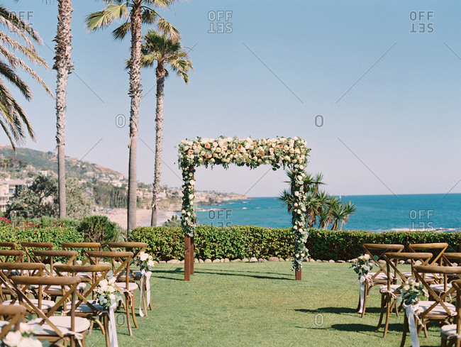 A wedding set up overlooking coast