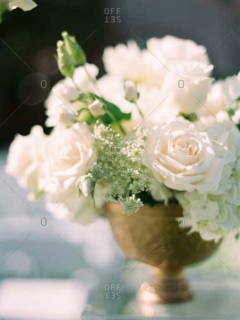 White roses and flowers in arrangement