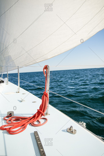 Newport, Rhode Island, United States - June 27, 2014: View Of Idyllic Sea From Sailboat Sailing In Newport, Rhode Island