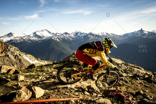 Whitsler, Brittish Columbia, Canada - August 14, 2016: Person Mountain Biking On Rocky Landscape In Whistler, British Columbia, Usa