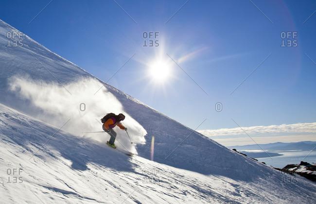 Sans Carlos De Bariloche, Rio Negro, Argentina - July 29, 2013: A Skier Skiing At Cerro Catedral In Argentina
