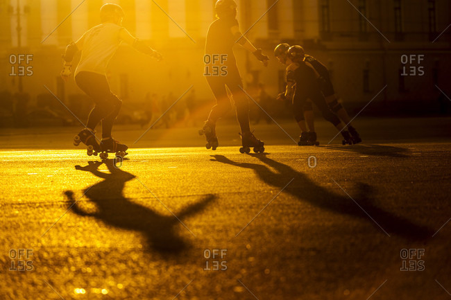 Palace Square, Saint Petersburg, Russia - August 25, 2016: Skate rollers at street of Saint Petersburg city, Russia