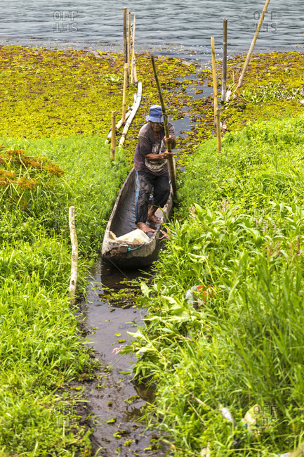 Buyan, Bali, Indonesia - September 24, 2016: Fisherman At Lake Buyan, Bali, Indonesia