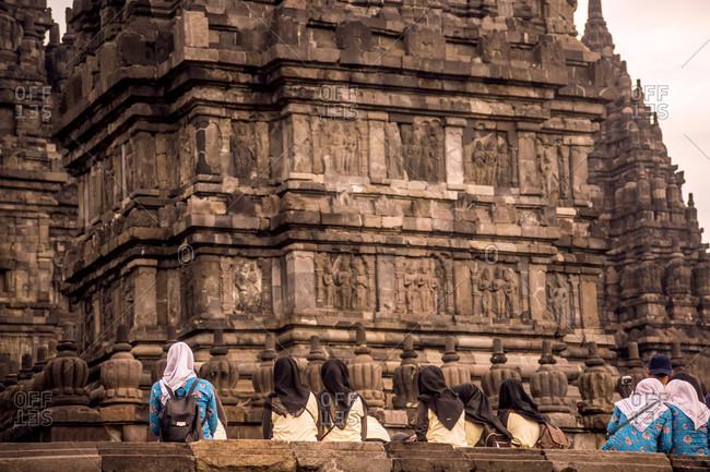 Yogyakarta, Java, Indonesia - October 12, 2016: People In Prambanan Temple, Yogyakarta, Java Island, Indonesia