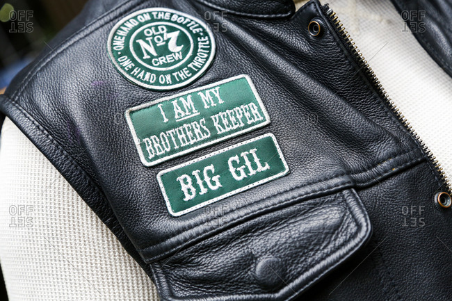 New York City, New York - August 5, 2017: Close up of patches on a biker's vest
