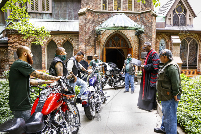 New York City, New York - August 5, 2017: Group of bikers at a blessing ceremony at a church