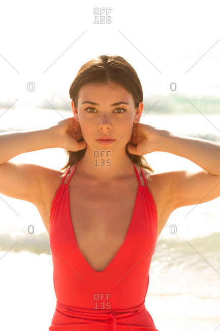 Woman in swimsuit at beach