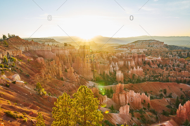 Scenic view of Bryce Canyon National Park at dusk