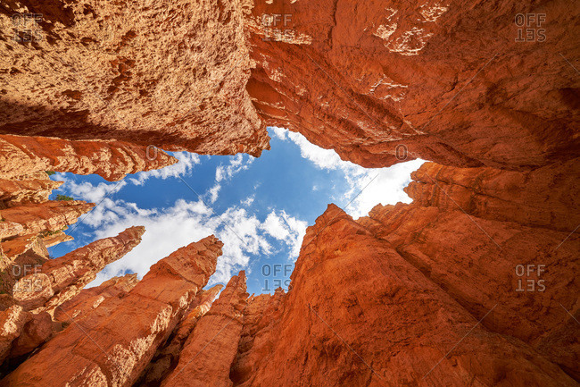 Upward view from bottom of Bryce Canyon, Utah