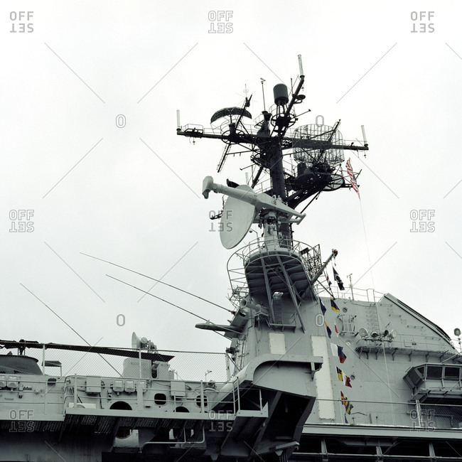 Satellite dish on aircraft carrier