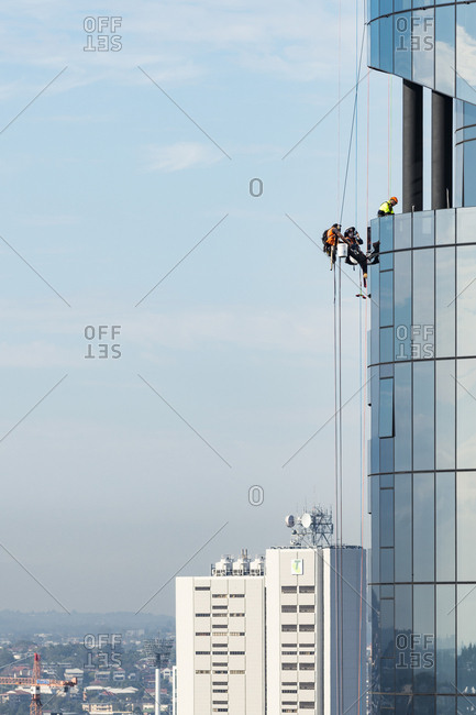 Brisbane, Australia - June 28, 2017: Rope access work