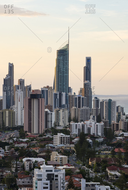 Surfers Paradise, Australia - June 29, 2017: Gold Coast at dusk