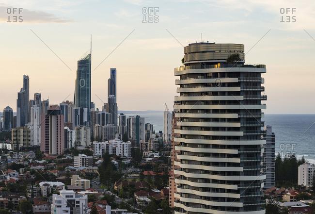 Surfers Paradise, Australia - June 29, 2017: Gold Coast at dusk