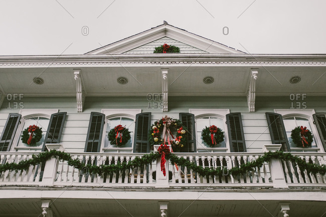 Building decorated for Christmas holiday in French Quarter, New Orleans