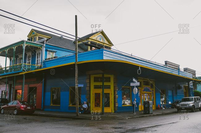 New Orleans, Louisiana - December 28, 2016: Colorful street corner
