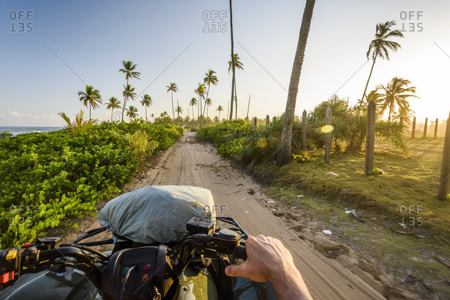 Personal perspective view from quad motorcycle on dirt road in tropical scenery with palm trees, Taipu de Fora Beach, South Bahia, Barra Grande, Brazil