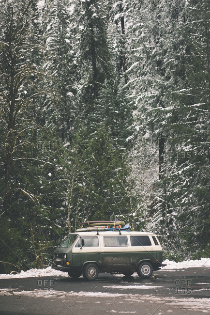 Nevada, USA 2016: Camper van parked in snowy forest in Oregon