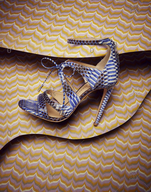 Brooklyn, New York 2016: Strappy snake skin stiletto sandal