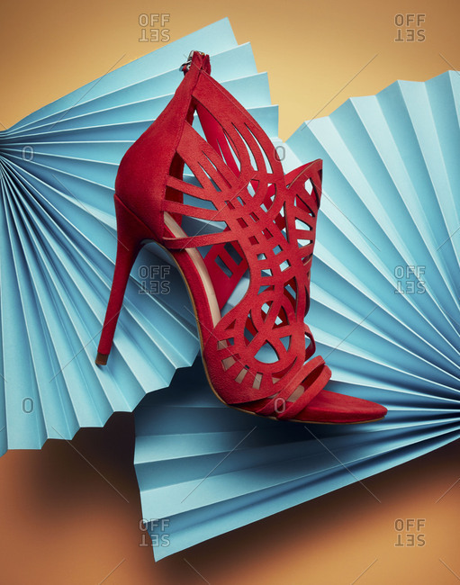 Brooklyn, New York 2016: Red stiletto on blue paper fans