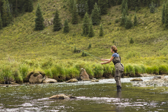 Colorado, USA - September 3, 2011: A woman casts to wild fish in the Colorado backcountry