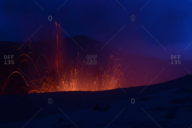 Lava sparks from Mount Yasur Volcano