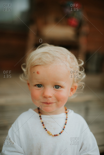 Portrait Of Toddler Boy With Curly Blonde Hair Stock Photo Offset