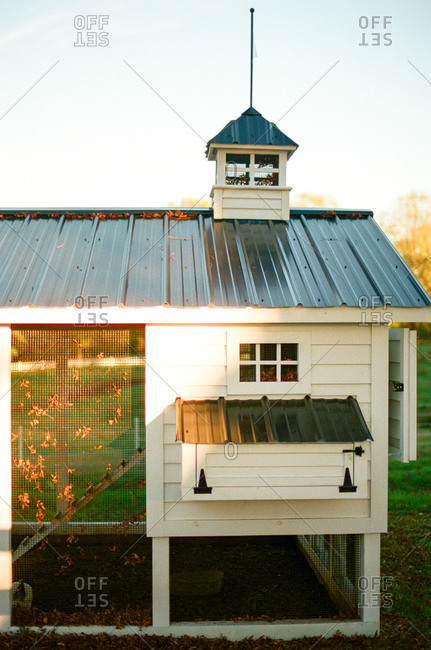 Chicken coop in autumn sun