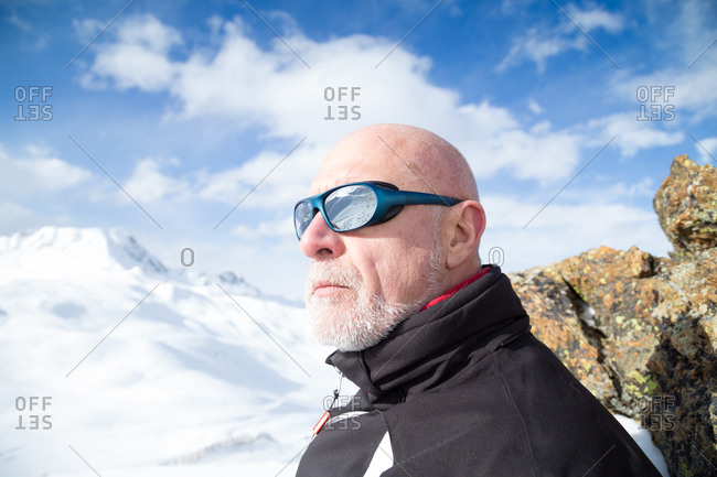 A senior skier in the French Alps