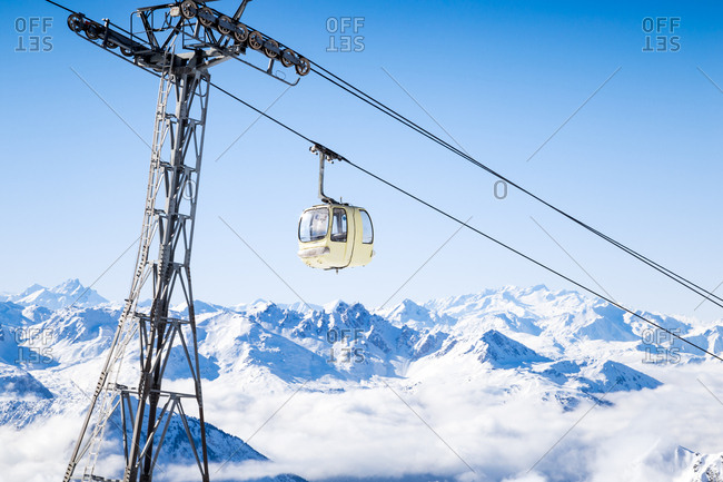 A ski gondola in the French Alps