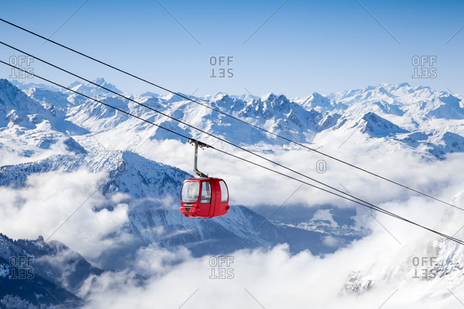 A ski gondola high above the French Alps