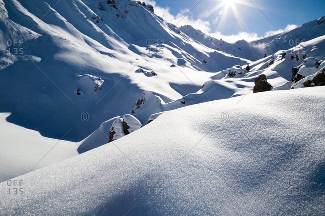 Pristine mountain peaks in the French Alps