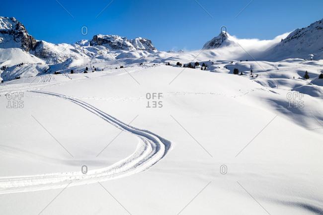 Ski tracks in the French Alps
