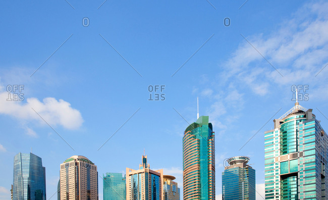 Shanghai, China - August 7, 2017: Office and apartment buildings in the Pudong district of Shanghai