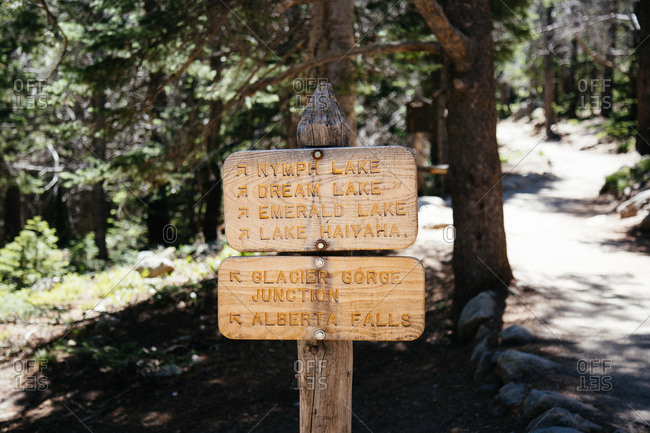 Trail signs at Rocky Mount National park in Colorado