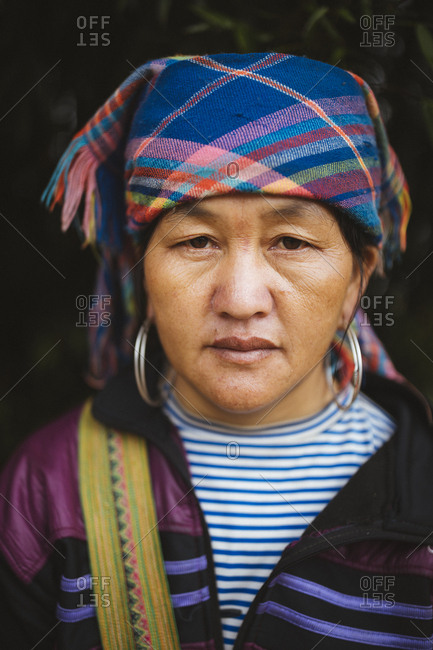 April 25, 2017: A portrait of Vam, a 45-year-old Hmong woman from Y Linh Ho village, outside of Sapa in northern Vietnam.