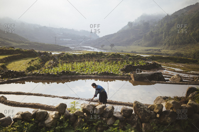 April 25, 2017: A woman turns the soil in her fields to prepare the summer's rice crop in Giang Ta Chai village, northern Vietnam.