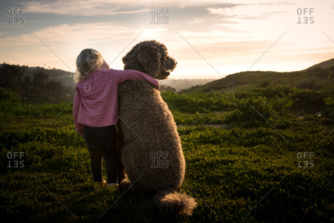 Toddler girl with her arm around labradoodle at sunset