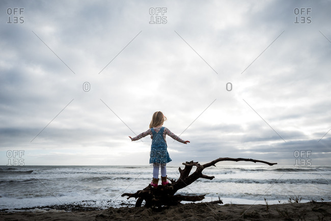 Girl balancing on driftwood tree on beach