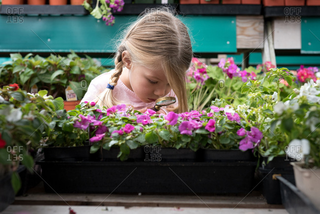 Girl looking at flowers with magnifying glass