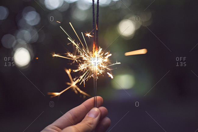 A sparkler in close up