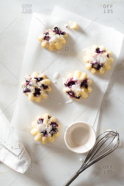 Blueberry Mini Muffins with Lemon Glaze