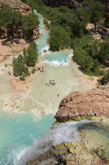 Havasupai, Arizona, USA - June 16, 2015: The top of Havasu Falls in Havasupai.