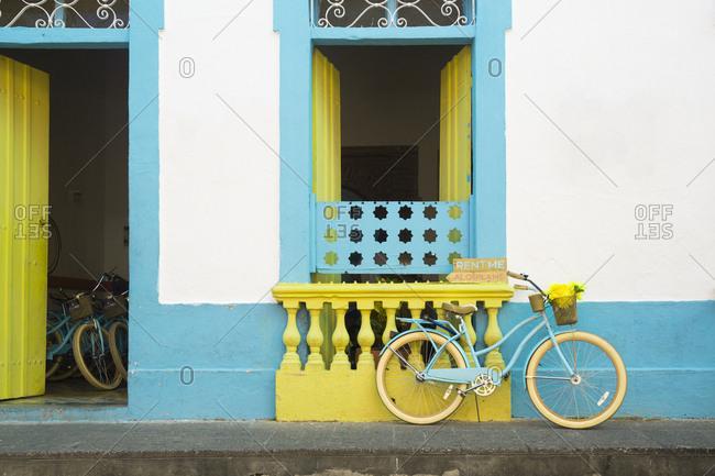 Santo Domnigo, Dominican Republic - November 13, 2015: A bike leaning against a wall in Santo Domingo.