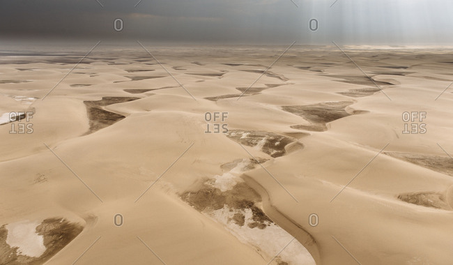 Aerial view of the dunes in the Namib Desert.