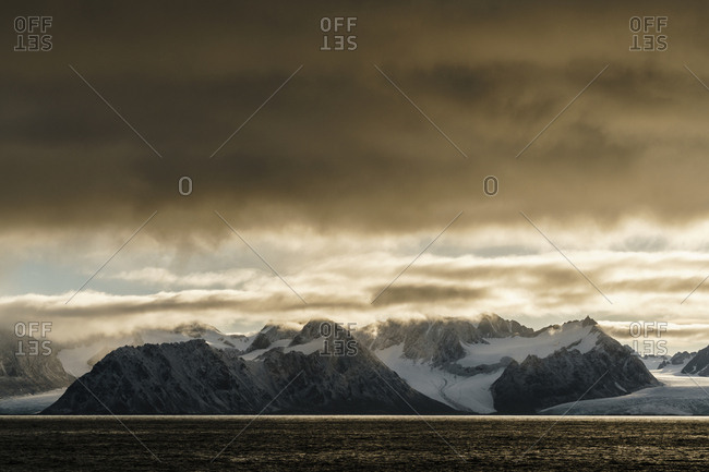 An Arctic seascape in Svalbard.