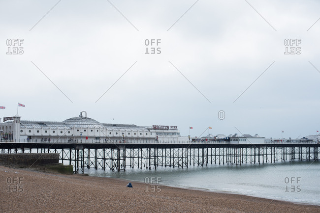 Brighton, England - May 4, 2017: Palace Pier from the shore