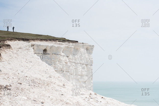 People on Seven Sisters cliffs in Sussex, England